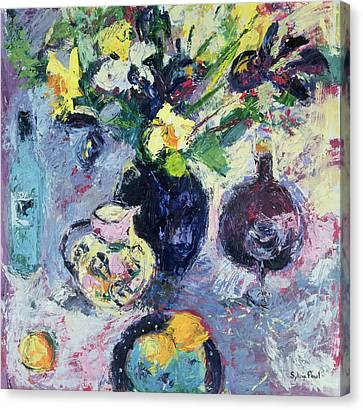 Still Life With Turquoise Bottle Canvas Print by Sylvia Paul