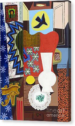 Still Life With Vase And Lemon Canvas Print by Phillip Castaldi