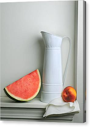 Canvas Print featuring the photograph Still Life With Watermelon by Krasimir Tolev