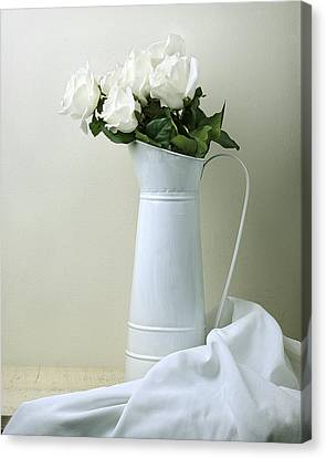 Canvas Print featuring the photograph Still Life With White Roses by Krasimir Tolev