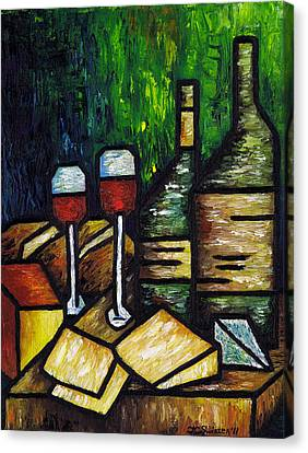 Still Life With Wine And Cheese Canvas Print by Kamil Swiatek