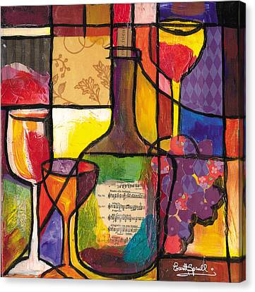 Still Life With Wine And Fruit Canvas Print by Everett Spruill