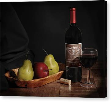 Canvas Print featuring the photograph Still Life With Wine Bottle by Krasimir Tolev