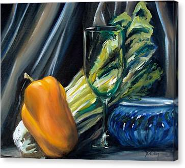 Still Life With Yellow Pepper Bok Choy Glass And Dish Canvas Print by Donna Tuten