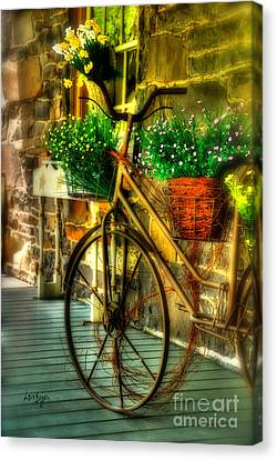 Bicycle With Flowers Canvas Print - Still Useful by Lois Bryan