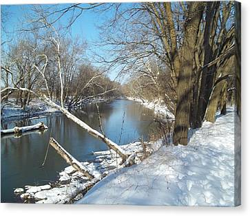Canvas Print featuring the photograph Still Water River Winter by Eric Switzer