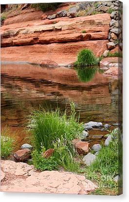 Still Waters At Slide Rock Canvas Print by Carol Groenen