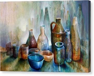 Stillleben Mit Blauer Schale Canvas Print