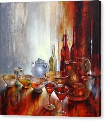 Stillleben Mit Grauer Teekanne Canvas Print