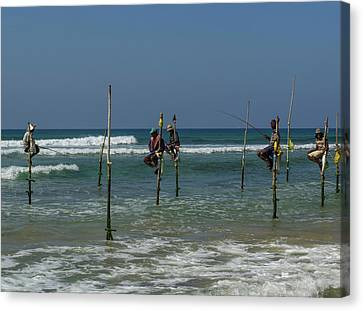 Stilt Fishermen On Beach, Galle Canvas Print by Panoramic Images