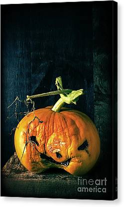 Creepy Canvas Print - Stingy Jack - Scary Halloween Pumpkin by Edward Fielding