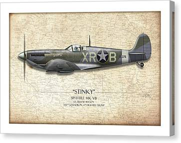 Stinky Duane Beeson Spitfire - Map Background Canvas Print