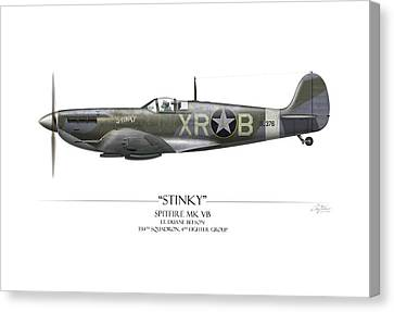 Stinky Duane Beeson Spitfire - White Background Canvas Print