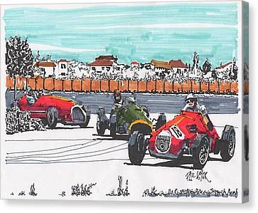 Stirling Moss Ferrari Grand Prix Of Italy Canvas Print by Paul Guyer