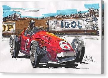 Stirling Moss Maserati French Grand Prix Canvas Print by Paul Guyer