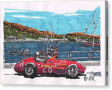 Stirling Moss Maserati Grand Prix Of Monaco Canvas Print by Paul Guyer