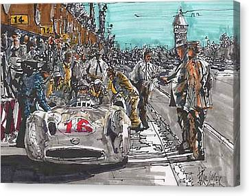 Stirling Moss Mercedes Benz Italian Grand Prix Canvas Print by Paul Guyer