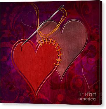 Stitched Hearts Canvas Print by Bedros Awak