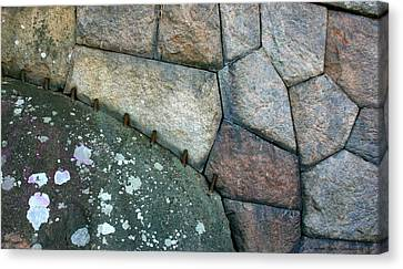 Stitched Stones Canvas Print by Leena Pekkalainen