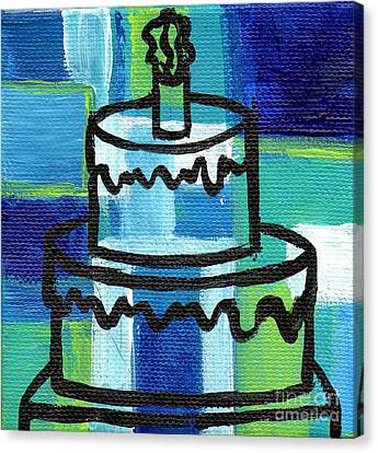 Stl250 Birthday Cake Blue And Green Small Abstract Canvas Print by Genevieve Esson