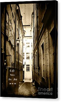 Stockholm Cafe Canvas Print by Joan McCool