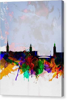 Stockholm Watercolor Skyline Canvas Print by Naxart Studio