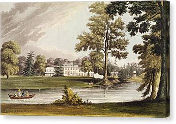 William And Mary Canvas Print - Stoke Place, From Ackermanns Repository by John Gendall
