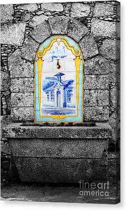 Stone And Ceramic Water Fountain Canvas Print by James Brunker