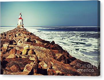 Canvas Print featuring the photograph Stone And Ice At Wisconsin Point by Mark David Zahn