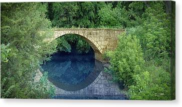 Stone Arch Bridge In Butler County Canvas Print by Rod Seel
