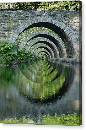 Stone Arch Bridge Over Troubled Waters - 1st Place Winner Faa Optical Illusions 2-26-2012 Canvas Print by EricaMaxine  Price