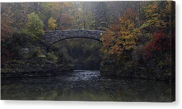 Wine Reflection Art Canvas Print - Stone Bridge In Autumn II by Michele Steffey