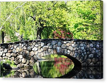 Canvas Print featuring the photograph Stone Bridge Reflection by Judy Palkimas