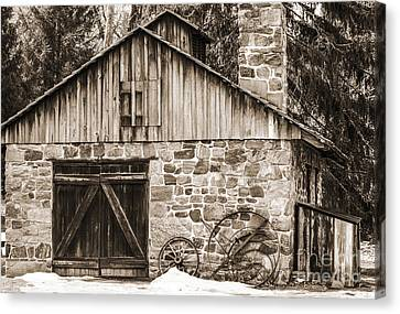 Stone Cabin 2 Canvas Print by Judy Wolinsky
