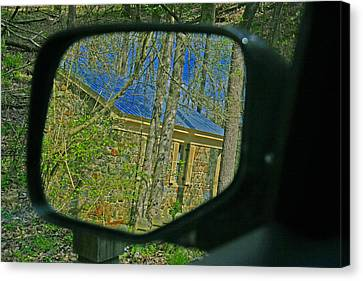 Canvas Print featuring the photograph Stone Cabin Reflection by Andy Lawless