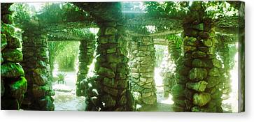 Garden Scene Canvas Print - Stone Canopy In The Botanical Garden by Panoramic Images
