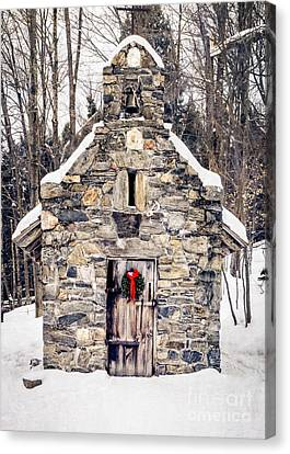 Winter In The Country Canvas Print - Stone Chapel In The Woods Trapp Family Lodge Stowe Vermont by Edward Fielding
