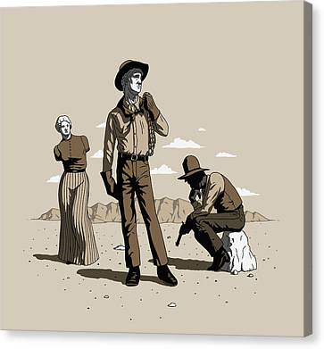Canvas Print featuring the digital art Stone-cold Western by Ben Hartnett