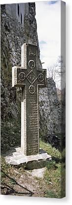 Stone Cross At A Castle, Bran Castle Canvas Print