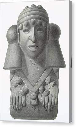 Stone Idol Of The Rain God Cocijo Canvas Print