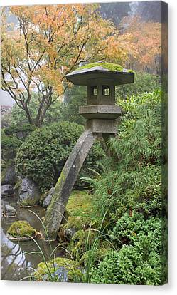 Canvas Print featuring the photograph Stone Lantern In Japanese Garden by JPLDesigns