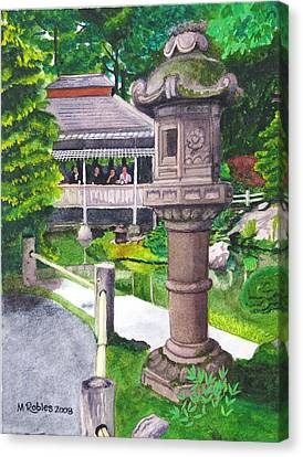 Stone Lantern Canvas Print by Mike Robles