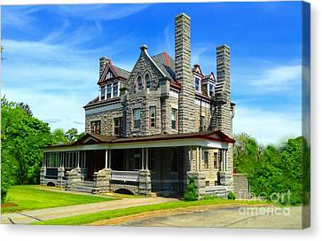 Canvas Print featuring the photograph Stone Mansion Blue Sky by Becky Lupe