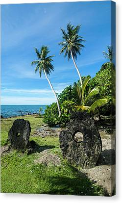Stone Money On Yap Island, Micronesia Canvas Print by Michael Runkel