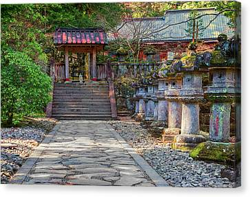 Stone Path Canvas Print - Stone Path Leading To Red Japanese by Sheila Haddad
