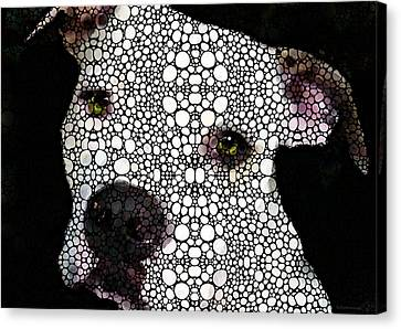 Canvas Print featuring the painting Stone Rock'd Dog By Sharon Cummings by Sharon Cummings