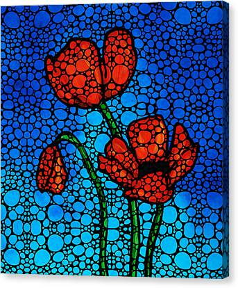 Stone Rock'd Poppies By Sharon Cummings Canvas Print by Sharon Cummings