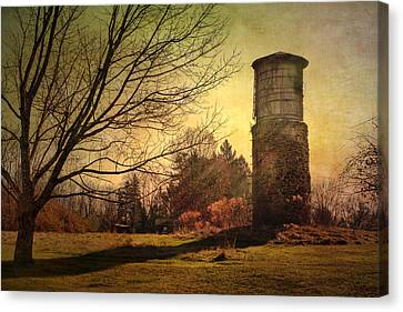 Stone Silo And Water Tower  Canvas Print