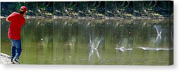 Stone Skipping In Calm Water Canvas Print by Roy Williams