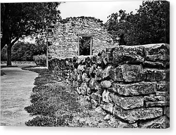 Canvas Print featuring the photograph Stone Wall At Mission Espada by Andy Crawford
